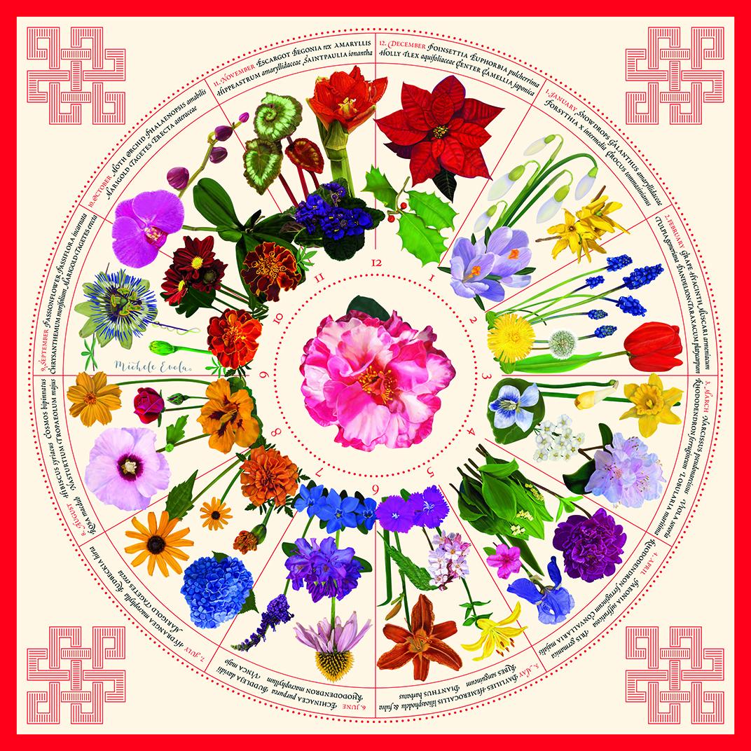 Botanical Garden Calendar Scarf, RED