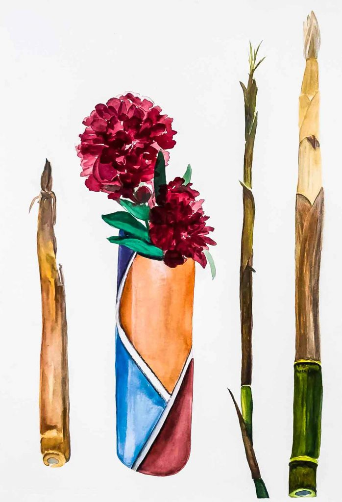 Bamboo & Peony 22×30 inches