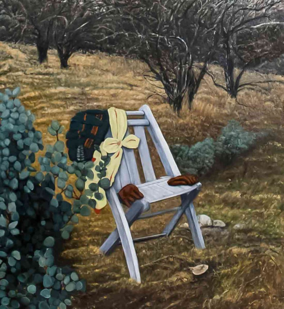 Clothes Chair oil on canvas 22 x 26 inches