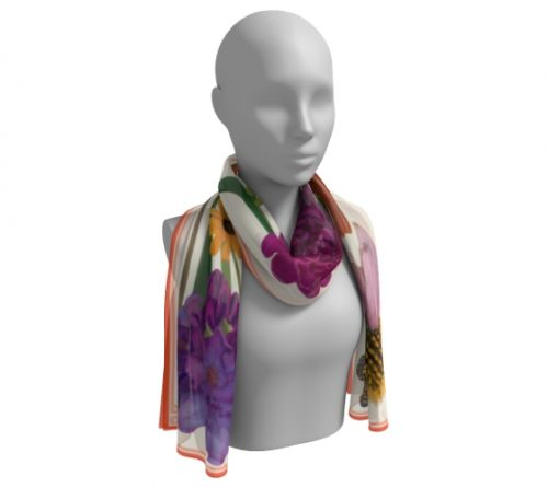 Botanical Scarf Summer Wrap Cream