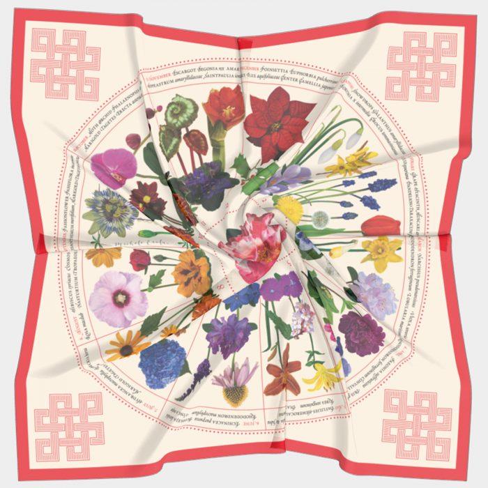 Botanical Garden Calendar Scarf Red Flat